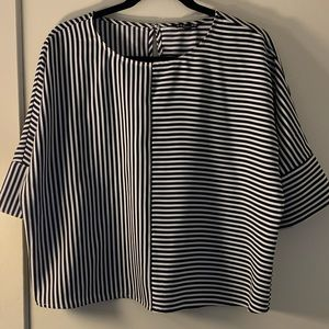 Express Black & White Stripped Blouse Sz S